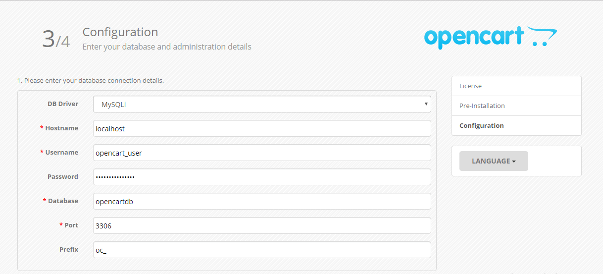 OpenCart Enter database and Admin details
