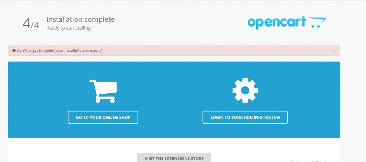 install OpenCart on Ubuntu 18.04 installation complete
