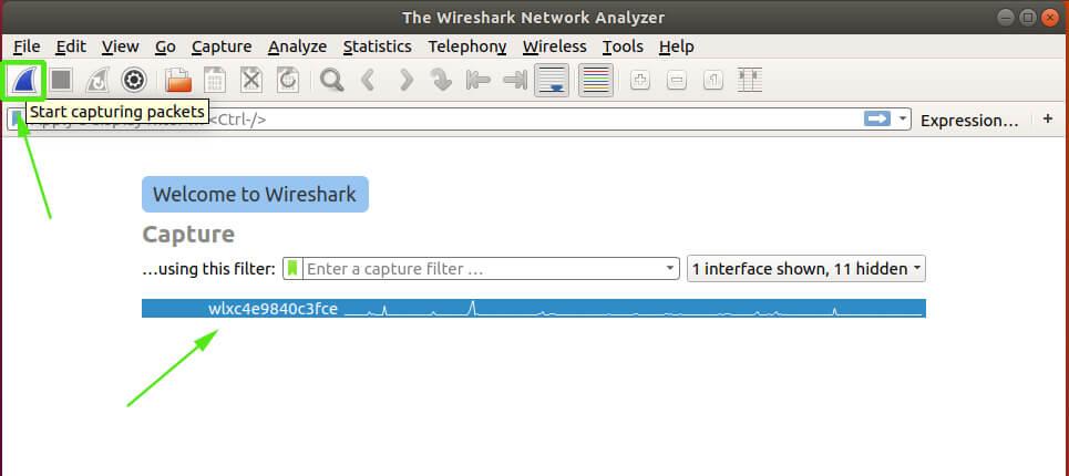 start capturing packets in wireshark